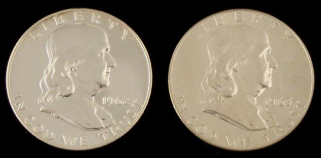 2 Diff Date Franklin Cameo Proof Half Dollars 1962, 63
