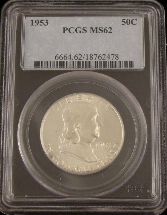 1953 PCGS MS62 Silver Franklin Halfr Dollar
