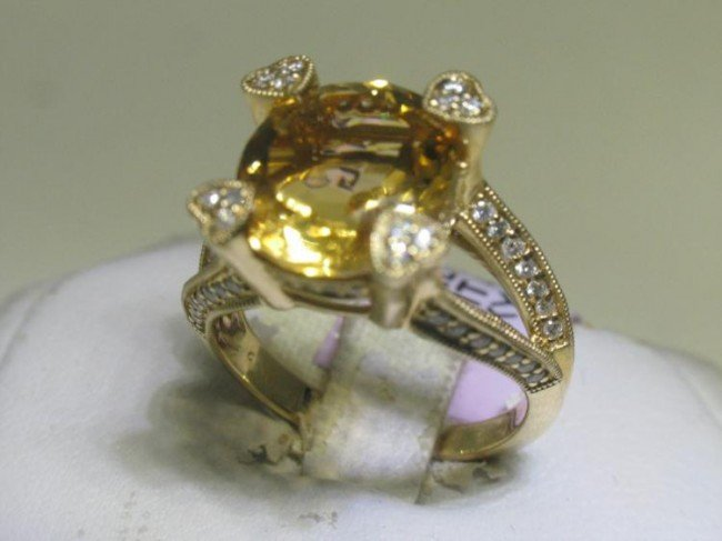 14K Yellow Gold Citrine Diamond Ring Size 7