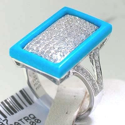 14K White Gold Rectangular Turquoise Diamond Ring Sz 7