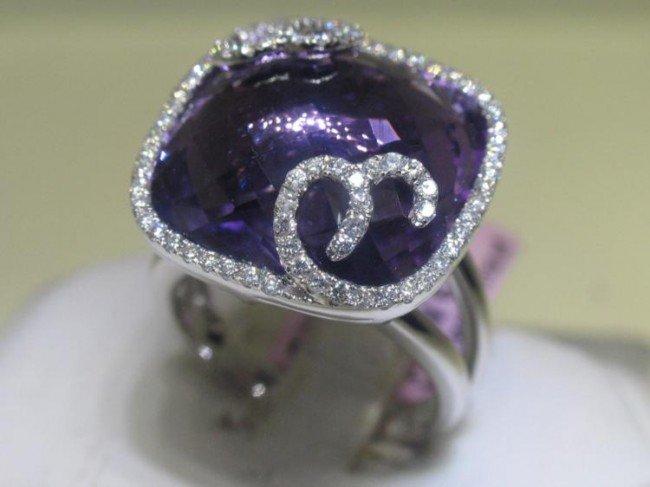 Michael Christoff 14K Wt Gold Amethyst Diamond Ring -7