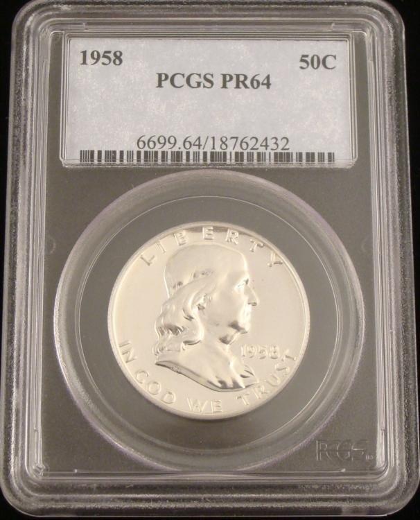 1958 PCGS PR64 Proof Franklin Silver Half Dollar