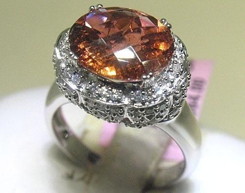 18K White Gold Tourmaline Diamond Ring 7 1/4