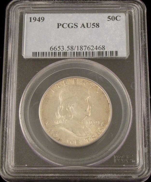 1949 Silver Franklin Half Dollar PCGS AU58