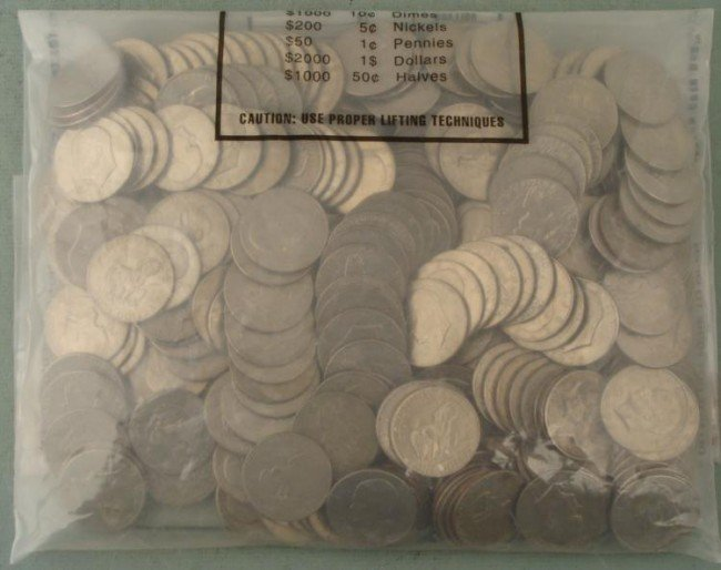 300 Mixed Eisenhower Ike Dollars Unsearched in Bank Bag