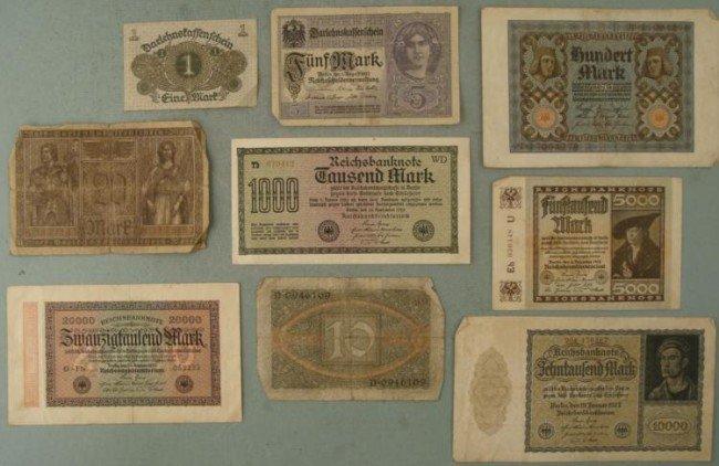 9 Diff Denominations Old German Paper Money 1917-1923