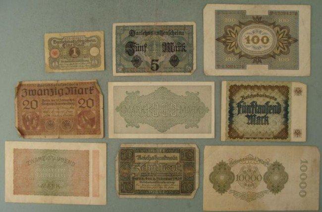 9 Diff Denominations Old German Paper Money 1917-1923 - 2