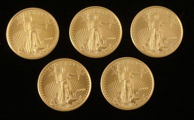 5 Gem UNC 2000 American Eagle $5 Gold Coins 1/10 Oz