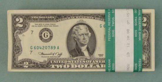 100 1976 $2 Dollar Bills Notes G Mint Chicago Nice