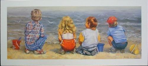 Lucelle Raad WATERS EDGE Cute Kids at Beach Art Print