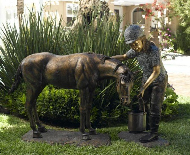 Pescara Jenny With Her Horse Bronze Sculpture