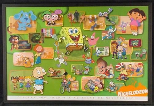NICKELODEON 25th ANNIVERSARY Print Framed 45 Characters
