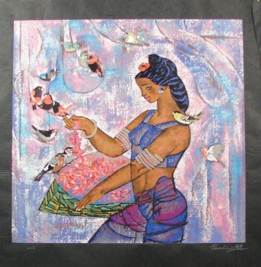 Zhou Ling SPRING Vibrant Rice Paper Yunnan Art Print
