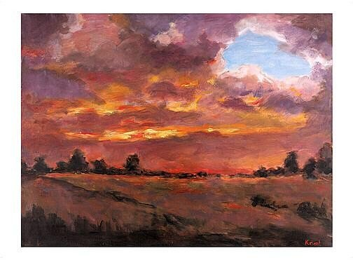 Fire In The Sky- A magnificent oil by Natalie Krol