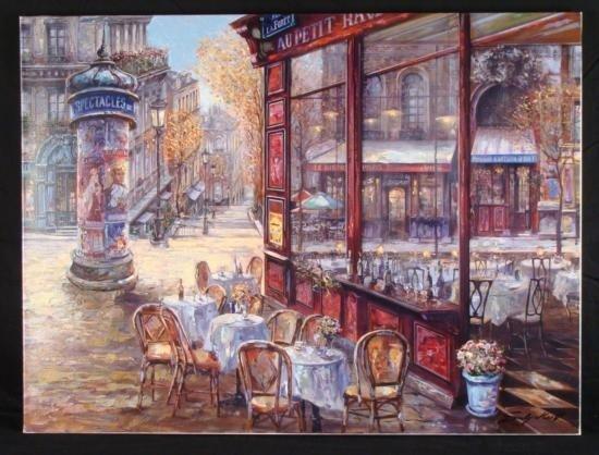 Vadik Suljakov Signed Print Bistro Paris Street Scene