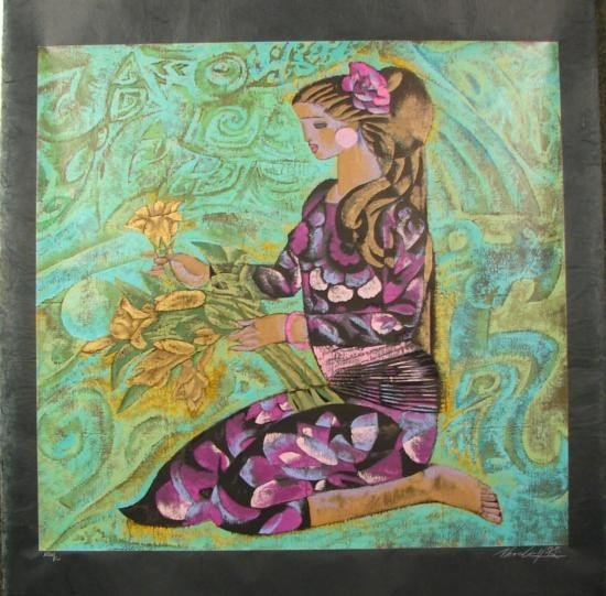 Zhou Ling A GIRL IN VIOLET Yunnan School Print Rice Pap