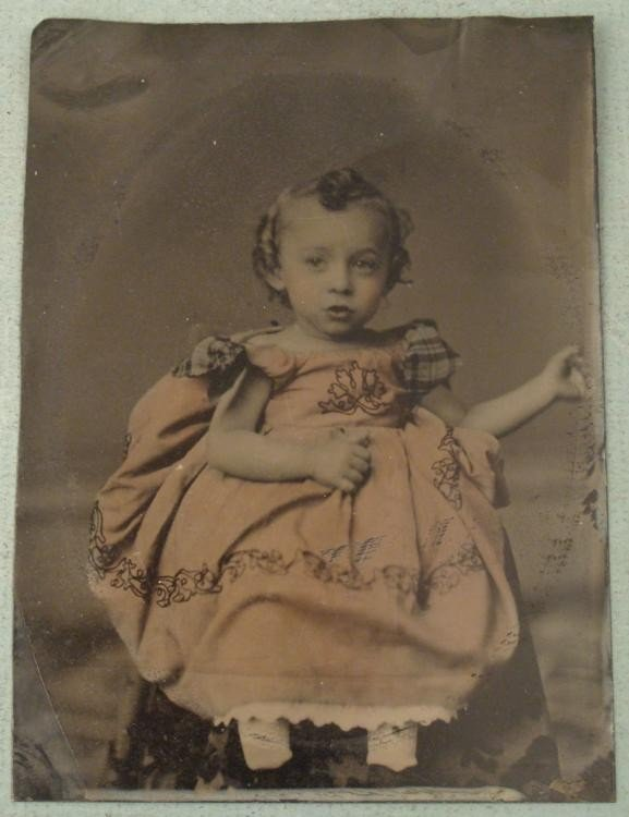 Antique Tintype Photo Girl Child w/ Pink Colored Dress