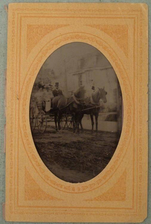 Antique Tintype Photo Horse & Buggy -African American