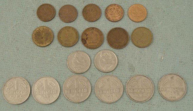 Lot of 18 Mixed Date German Coins Mark, Pfennig 1950-70