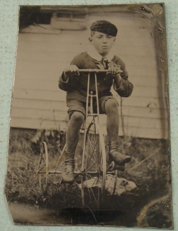 Antique Tintype Boy on Tricycle Outdoor Bike Bicycle