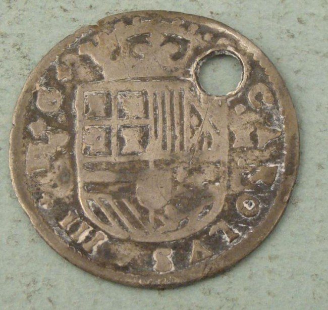 Spain 1708 2 Reales Silver Coin -Holed
