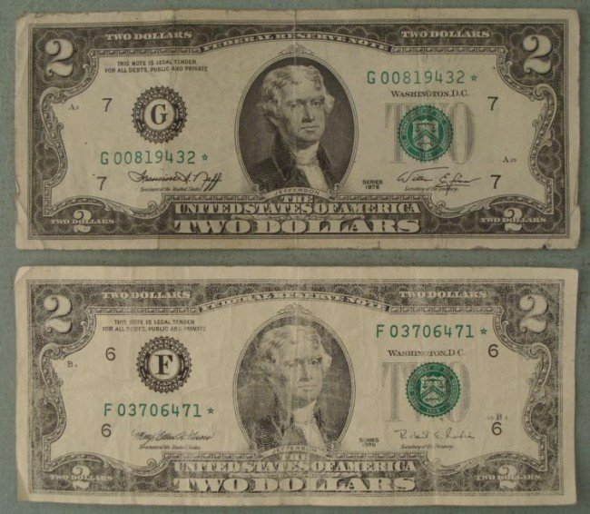 2 Star Notes $2 Bills 1976 G, 1995 F Mint Marks