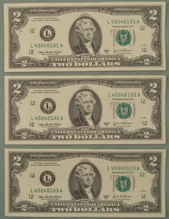 3 Conscec CU 2003-A $2 Bill Notes L Mint San Francisco