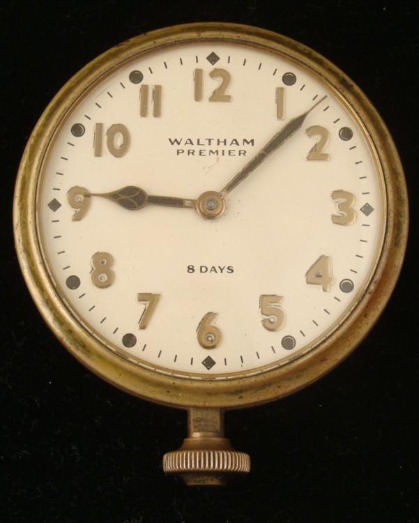 Waltham Premier 8 Days Automobile Car Clock Antique