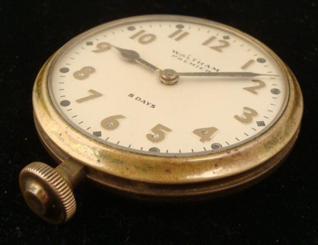 Waltham Premier 8 Days Automobile Car Clock Antique - 2