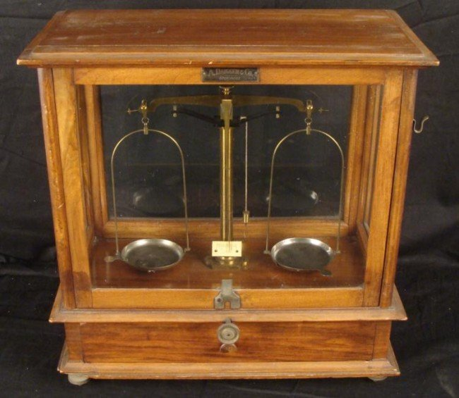A. Daigger Antique Scale in Display Case Cabinet