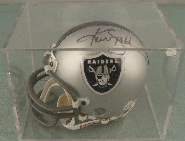 Ken Stabler Signed Raider Mini Helmet w/Display Case