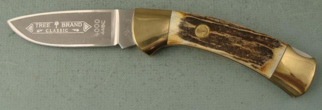 SOLINGEN GERMANY STAG GRIP LARGE FOLDING KNIFE-TREE BRA