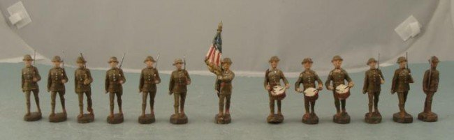 PRE-WWII ELASTOLIN GERMAN MADE COMP TOY SOLDIERS US