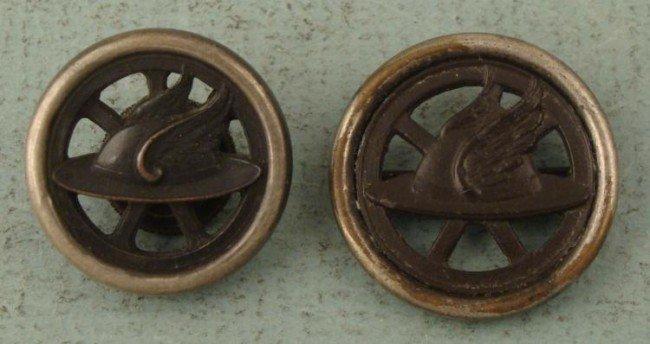 2 WWI Motor Transport Collar Insignia Disks Cut-Away