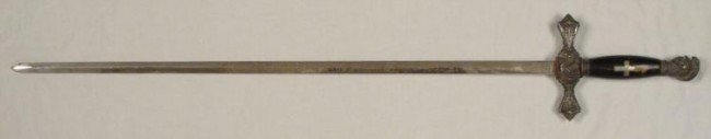 EARLY 1900s KNIGHTS TEMPLAR SWORD-DOUBLE ENGRAVED BLADE