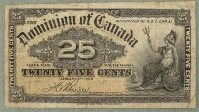 Canada 25 Cents Paper Currency Dominion 1900