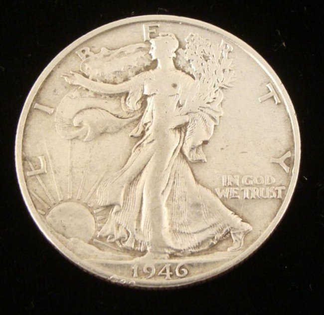 1946-S Walking Liberty Half Silver Dollar -Very Nice