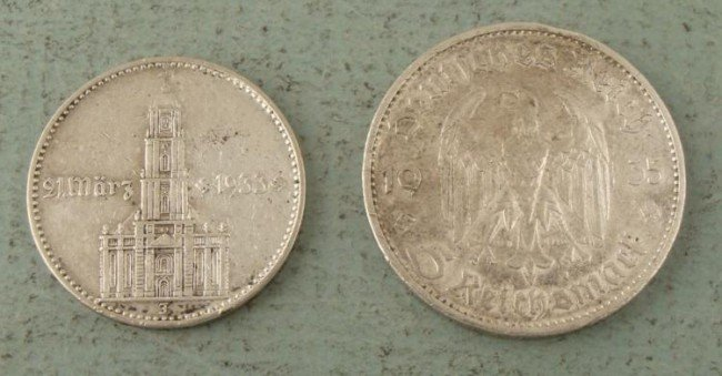 2 High Grade Nazi Germany Silver 2,5 Mark Coins 1934,35