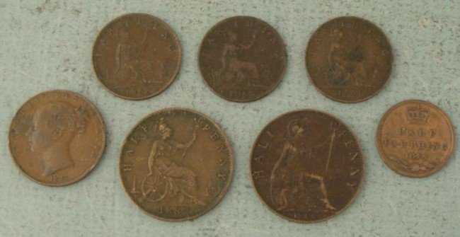 7 Early British Coins 1844-1902 Farthing, Half Penny
