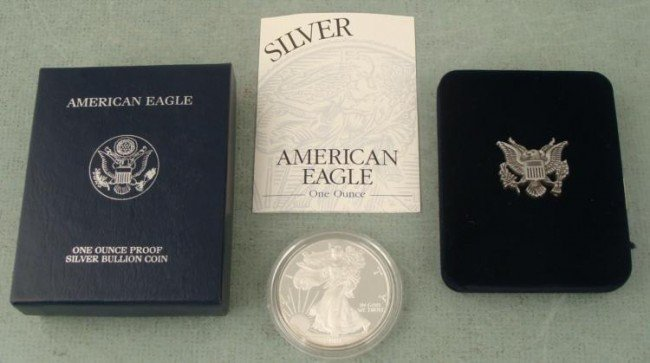 2001 W Proof American Eagle Silver Dollar w/Box, COA