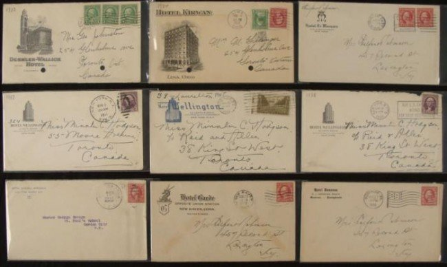 9 Hotel Envelopes w/ Stamps Wellington, Kirwan, Donvan