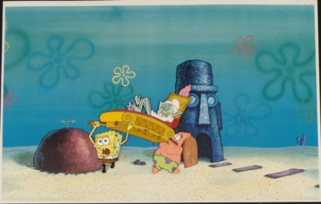 SpongeBob Orig Animation Cel Carry Sleeping Squidward