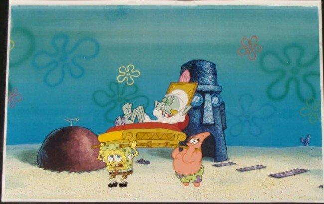 SpongeBob Orig Animation Cel Squidward Sleeping Ghost
