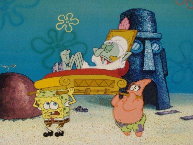 SpongeBob Orig Animation Cel Squidward Sleeping Ghost - 2
