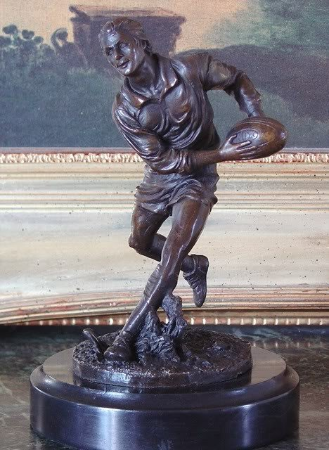 Athletic Bronze Sculpture Rugby Player