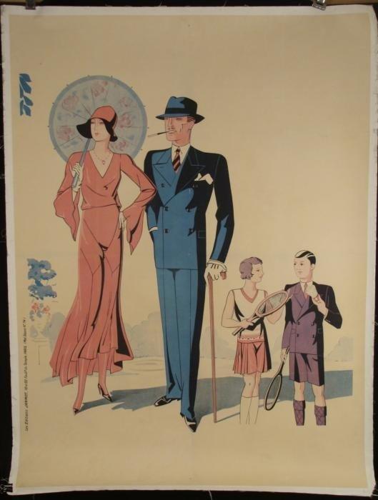 French Original Antique Fashion Poster Badminton 1920s