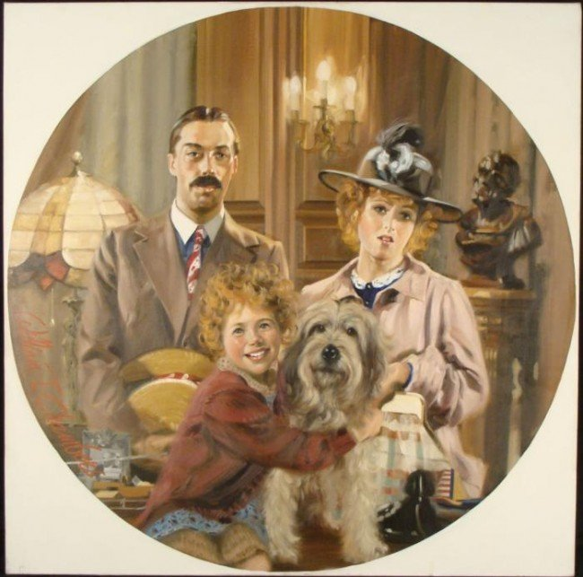 William Chambers Original Painting Annie, Lilly,Rooster