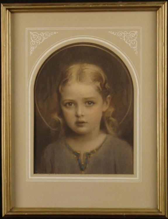EG Inc. Girl Portrait Vintage Art Print Framed 1930s