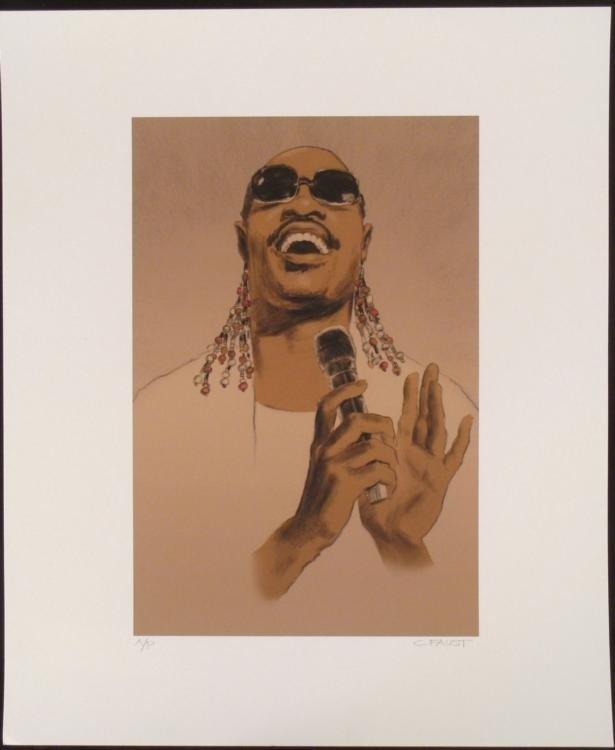 Clifford Faust Signed Stevie Wonder Motown Art Print