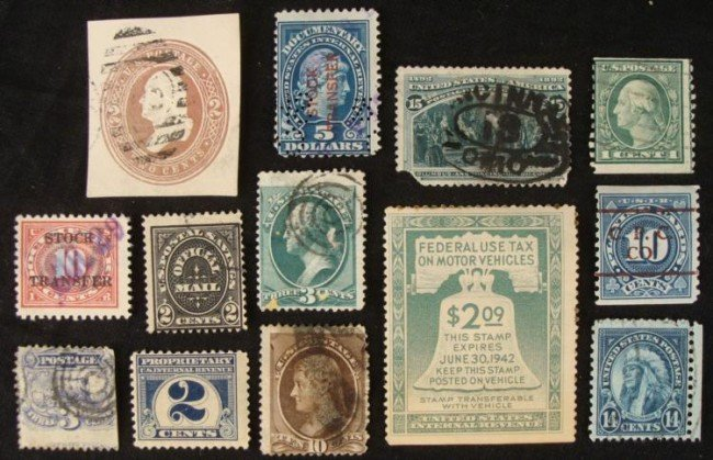 13 Antique Stamps Washington,Documentary,Stock Transfer